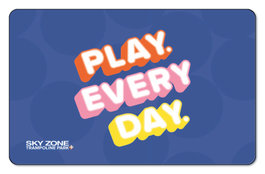 Play Every Day over blue background with Skyzone logo.
